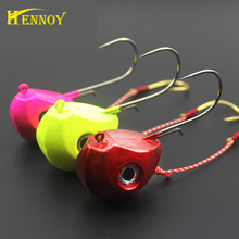 Hennoy Lead Head Jig Lures 40g 60g 80g 100g Jigging Lures with Single Hook Pesca Accessories Boat Fishing Equipment(China)