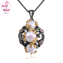 ZHE FAN Black Gold Color Jewelry Necklace Women Freshwater Pearls Unique Two Tone Plating Fashion Christmas Gift Jewellery(China)