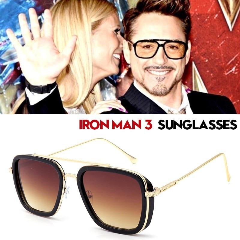 NEW Iron Man 3 Tony Stark Sunglasses Retro Vintage Sun Glasses UV400 Men Eyewear