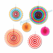 Free Ship 5 Sets Wedding Paper Fan  Mix 3 Sizes 40cm/30cm/20cm Rainbow Color Party Pinwheels Backdrop Rosette Wall Hanging Decor