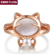 Top Quality Cat's Eye Stone Imitation Pearl Cute Cat Ring Rose Gold Color Austrian Crystals Wholesale ZYR330 ZYR143(China)