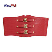 WmcyWell Women PU Leather High Waist Belt Corsets Waist Training Punk Ultra Elastic Body Shaper Faux Leather Rivet Waist Belt(China)