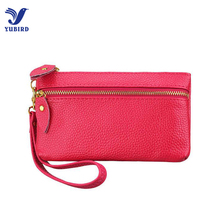 Fashion Women Wallets Genuine Leather Red Black Solid Casual Female Zipper Wallet Long Money Bags Wristlet Purse Case for iphone(China)