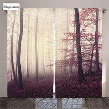 Curtains Room Red Woodland Decor Collection Fantasy Marsala Color Foggy Forest Woods Living Room Bedroom 2 Panels Set 145*265 sm
