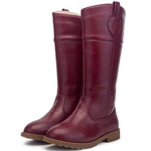 T.S. kids boots Knee - length boots and velvet children totem leather high boots Thick warm anti-skid winter boots wine red(China)