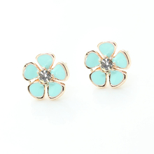 Claire fashion accessories stud earring pack enamel alloy little flower crystal stud earrings for children girls brinco