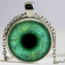 Green cat's eye necklace pendants Charms art blue, red eyes pendnat photo necklaces jewelry pendant jewelry glass dome