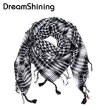 DreamShining Arab Shemagh Tactical Palestine Light Polyester Scarf Shawl For Men Fashion Plaid Printed Men Scarf Wraps