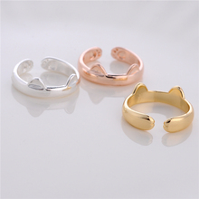 10pcs Lovely Cat Ears Rings Jewelry Simple Design Cute Animal Ring Gold/Silver/Rose Women Jewelry Wholesale Gift For Friends