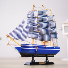 24cm Mediterranean Style Wooden Sailboat Figurine Handmade Bois Sailing ship Model  Home Decoration Christmas Wood Craft gift