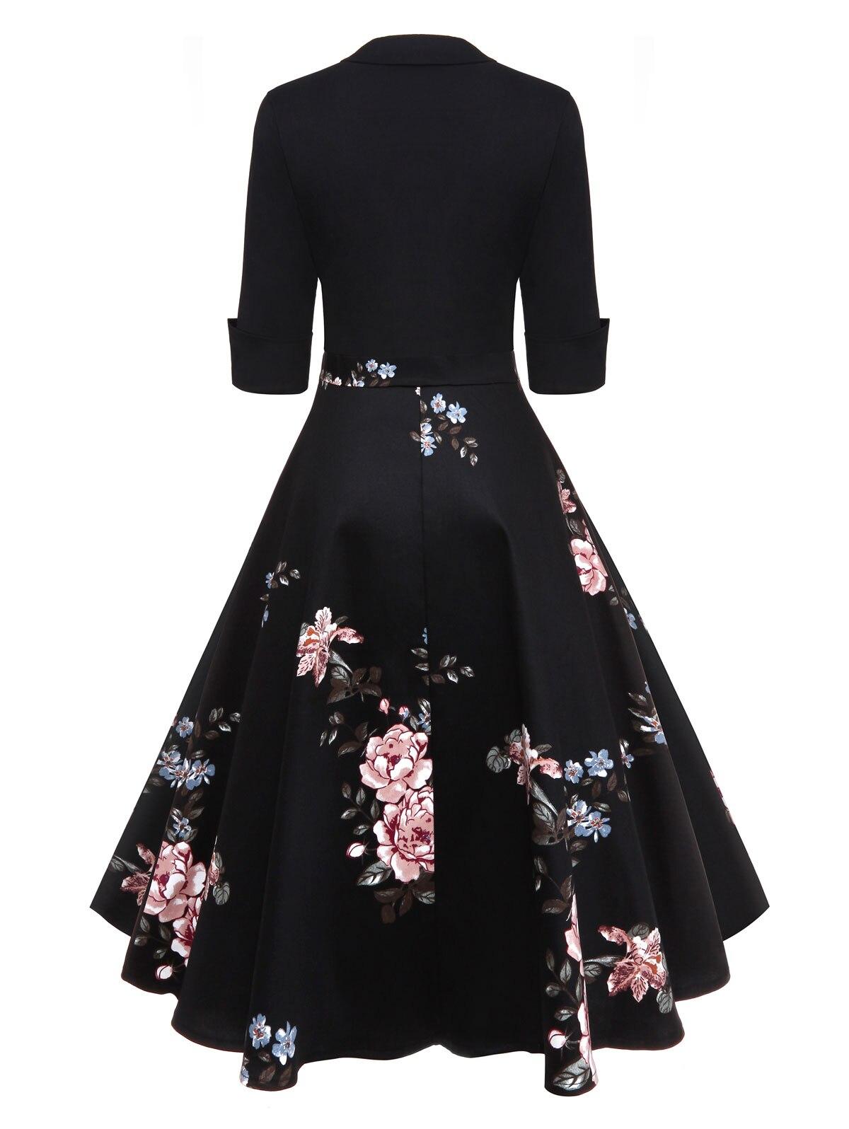 AZULINA Audrey Hepburn Vintage Party Dress Women Floral Flare Midi ... 5522ab48e404