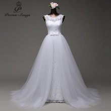 Poemssongs custom made high quality mermaid wedding dress with tulle detachable train vestido de noivas(China)