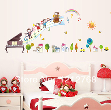 Cartoon child real piano decoration musical notes wall stickers