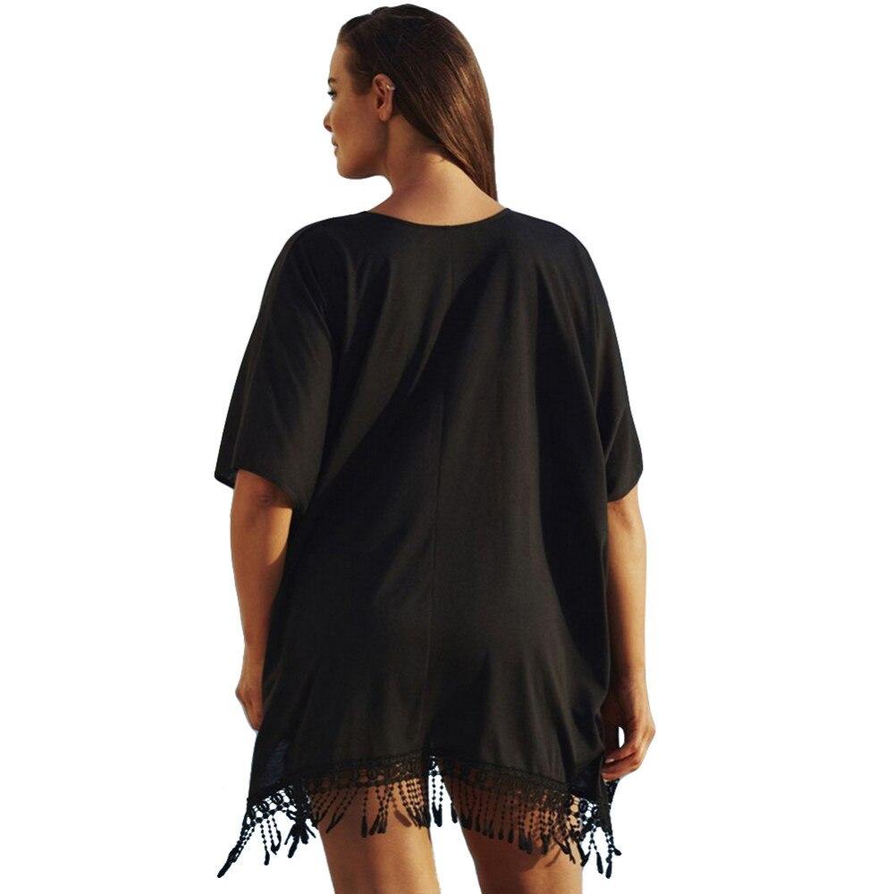 Plus Size 3xl Mini See Through Chiffon Dress For Women Sexy Tassel Crochet Tunic Beach Dress Beach Wear 7