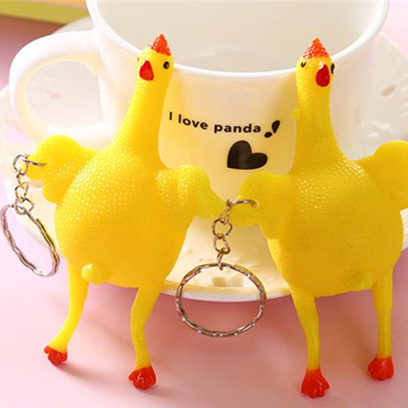 1PCS Small Funny Spoof Tricky Vent Chicken Whole Egg Laying Hens Decompression Ball Keychain Gadgets Toys Adult kids gag gifts(China (Mainland))