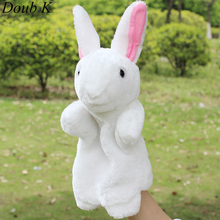 Doub K finger Puppet rabbit Plush Toys Animals hand Puppets parent Children Learning Educational story fantoches Kids baby doll(China)