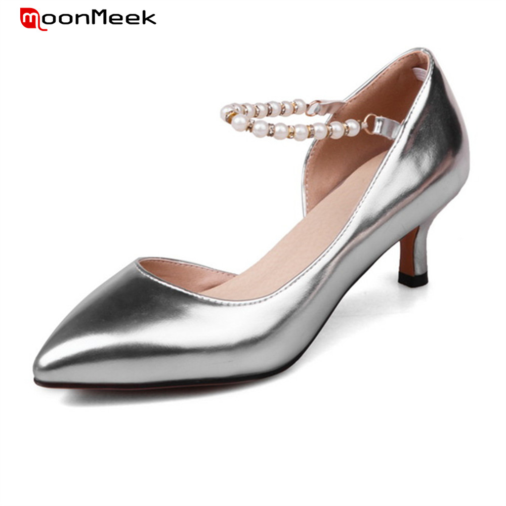 MoonMeek new fashion female shoes pointed toe prevail thin med heel simple slip on sexy woman shoes pumps women shoes<br>