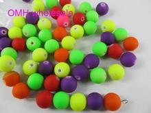 OMH wholesale 100PCS 10mm Red Bule Mix Jewelry Accessories  DIY Acrylic Plastic Beads ZL605