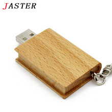 JASTER Natural Wooden Book Model Genuine usb flash drive pen drive wood pendrive 4gb 8gb 16gb 32gb memory stick LOGO customer
