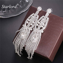 Starlord Brand Long Charming Chandelier Drop Earrings Party Fashion Tassel Jewelry Statement Dangle Earrings For Women E2376(China)