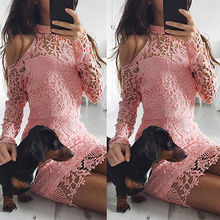 Buy Womens Elegant Wedding Party Sexy Night Club 2017 O-Neck Sleeve Pink Halter Sheath Bodycon Lace Dress Short Vestido de festa