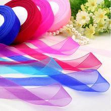 20mm 50 Yard/Rolls 45M Pretty Silk Organza Double Face Transparent Ribbon For Wedding Party Decoration Crafts Gift Packing Belt