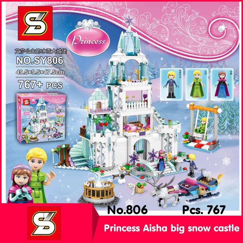 SY SY806 767Pcs Friends Series Princess Aisha big snow Castle Model Building Blocks Set Bricks Toy With Children Toys 41062<br>