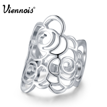 Viennois Brand New Silver Color Hollow Flower Rings For Women Party Size 7 8 9 Finger Ring Female Fashion Jewelry
