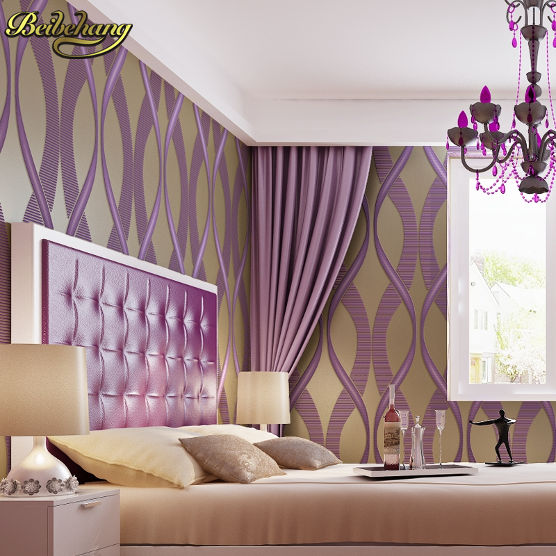 beibehang Girl bedroom wallpaper for walls 3 d purple stripe wall paper TV background wall paper for living room papel de parede<br>
