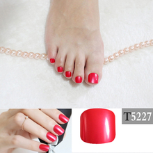 Candy DIY Fashion Colors Toe Nails 24pcs Acrylic False Toes Solid color Art Tips Fake Toenails simple Red T5227