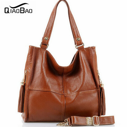 QIAO BAO HOT new designer women Cowhide leather bags handbags high quality 3 candy color messenger shoulder Bags luxury tote<br>