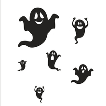 New Happy Halloween Black Ghost Wall Sticker Window Home Decoration Decal Decor large wall posters door glass stickers Fashion