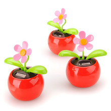 New Arrival Moving Dancing Solar Power Flower Flowerpot Swing Solar Car Toy Gift Home Decorating Plants solaire voiture jouet(China)
