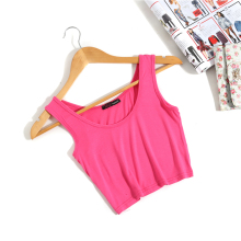 Summer Slim Render Short Top Women Sleeveless U Croptops Tank Tops Solid Black/White Crop Tops Vest Tube Top 8 Color