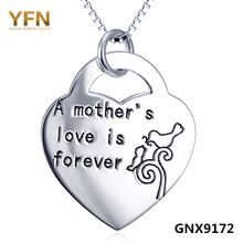 YFN 2016 New Genuine 925 Sterling Silver Heart Pendant Necklace Personalized Jewelry Mother's Forever Love Necklace Best Gifts