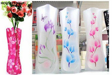 Plastic PVC Foldable Unbreakable Flower Vase Creative Household Novelty Items Vases Office Dining Living Room Decorative Product(China)