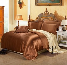 Hot sale 4pcs  Faux Silk feel Brand Printed Bedding set  Duvet cover set  Twin &Queen &King size Coffee beige mixed colors