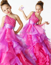 2016 New Fshion Beaded Sequins One Shoulder Tiered Fuchsia Organza Model Glitz Pageant Dresses For Girls