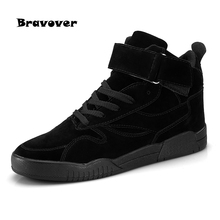 Men Casual Shoes New Lace-up Style Fashion Trend Microfiber Flat Breathable Rubber High Top Shoes Man(China)