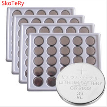 Free shipping 100pcs 2032 CR2032 3v 220mAh lithium Button Coin Battery in 100pcs Bulk for watches, toys, flashlights etc