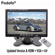 "Podofo 7"" TFT LCD Color 2 Video Input PC Audio Video Display VGA HDMI AV Input Security Monitor Screen+Remote Control Carstyling"