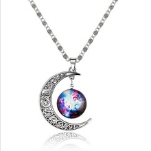 12 Silver Color Jewelry Fashion Women's Galaxy Star Moon Statement Necklace Collares Pendants Maxi Necklace for Men Women(China)