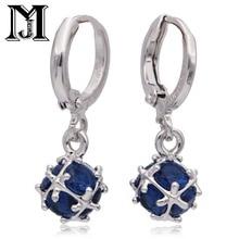 Jiamu Fashionable Por Pendants Blue Natural Zirconium Earrings With Cz Ring Las Jewelry For Wowen