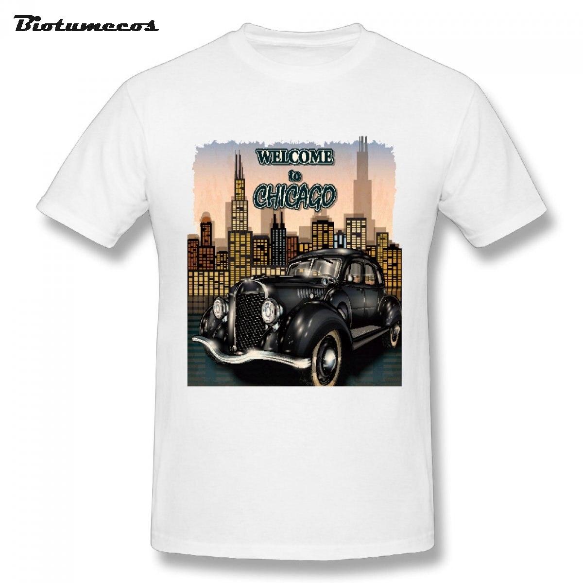 Gt86 design t shirts men s t shirt - 2017 Newest Men Tshirt Welcome To Chicago Black Retro Car Bubble Car Tall Building Printed Short