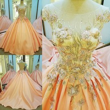 Robe De Soiree Long Sweep Train Evening Dress 2017 Luxury Orange Lace Satin Banquet Formal Dress Bridal  Prom Dresses Real Photo