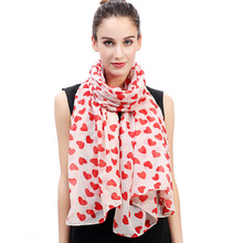 Heart Print Women's Scarf Shawl Wrap Soft Lightweight for All Seasons Mother's Valentine's Day Gift(China)