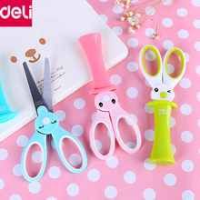 Deli Stationery 1pcs Cute Kawaii Bunny Children Scissors Safety Scissors with Protective Cap Office School Supplies