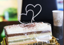 free shipping 5pcs/ lot Diamante Rhinestone Double Love Heart Cake Topper Wedding Anniversary Decor New(China)