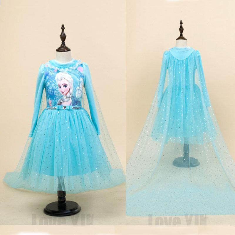 2017 High Quality Custom Anna&amp;Elsa Girls Princess Dress Kids Girl Vestidos Baby Children Cosplay Dresses Pincess Party Dresses<br><br>Aliexpress