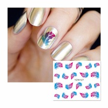 LCJ Feather Water Decal Nail Water Transfer Gothic Blooming Flower Nail Sticker Stamping For Nail Art Stamp 127